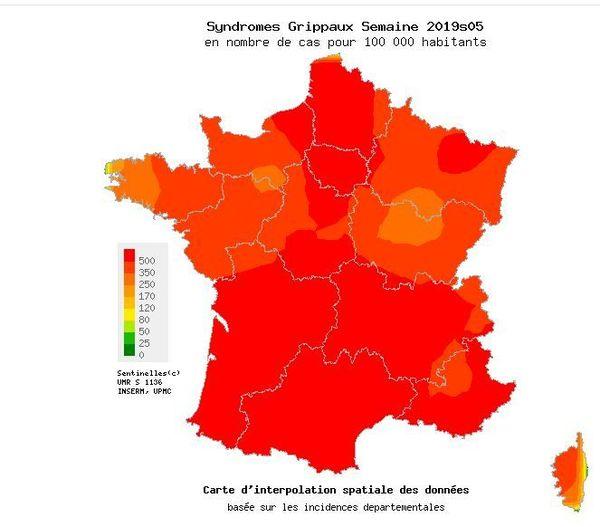 Presque toute la France a atteint le seuil épidémique.