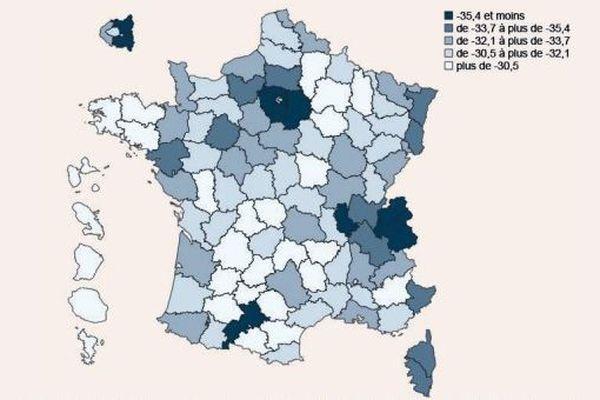 Estimation de la perte d'activité départementale liée aux mesures d'endiguement (source : Insee)
