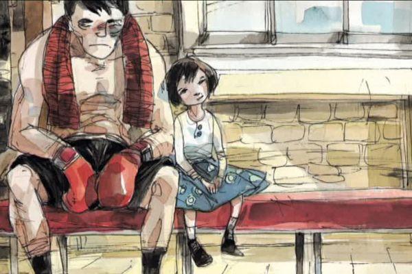 """planche de la bande dessinée """"mon père était boxeur"""" (ed. Futuropolis)"""
