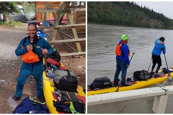 Sébastien Le Meaux (à gauche) malvoyant et son binôme ont pagayé sur la Yukon River soit 750 kilomètres à la force des bras