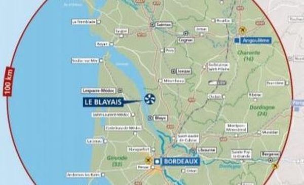 La centrale nucléaire du blayais en Gironde est située à mi-chemin entre Bordeaux et Royan