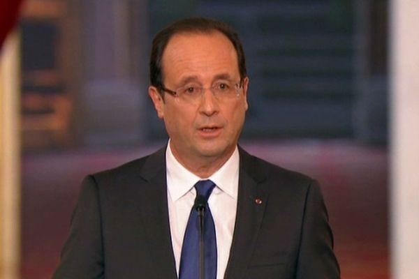 Le président François Hollande lors de sa première conférence de presse à l'Elysée le 13 novembre 2012.