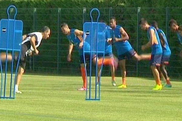 Montpellier - le MHSC à l'entraînement avant la reprise du championnat de Ligue 1 - 7 août 2014.