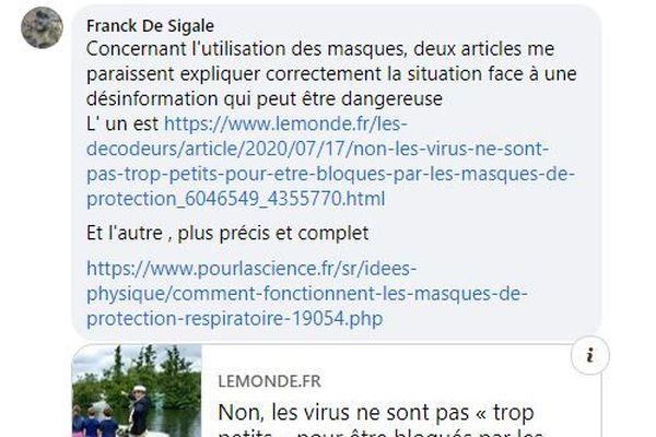 Commentaire sur Facebook suite au post d'une élue écologiste niçoise jugeant le masque inefficace