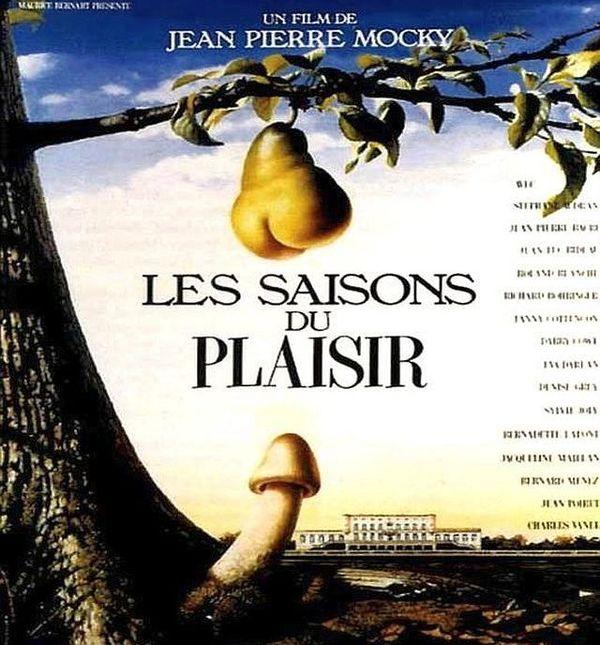 Affiche du film Les Saisons du plaisir tourné par Jean-Pierre Mocky à Montagnac et Pézenas dans l'Hérault, en 1986 et 1987.
