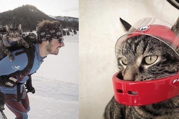 Rémy et Cathode au ski (à gauche) et Cathode et son casque de moto (à droite).