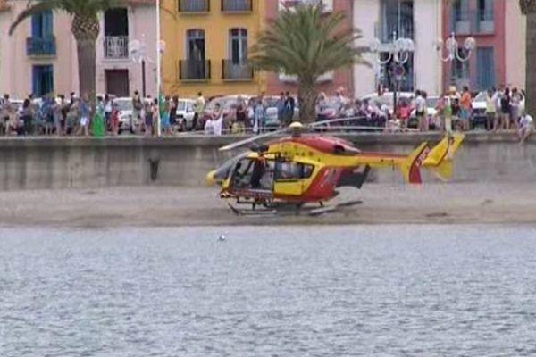 Le petit garçon, sauvé de la noyade, a été transporté par un hélicoptère de la sécurité civile vers l'hôpital de Perpignan.