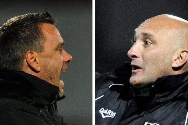 Objectifs similaires du côté du Gazélec d'Hervé Della Maggiore (gauche) et de l'ACA d'Olivier Pantaloni (droite) avant la 32e journée de Ligue 2.