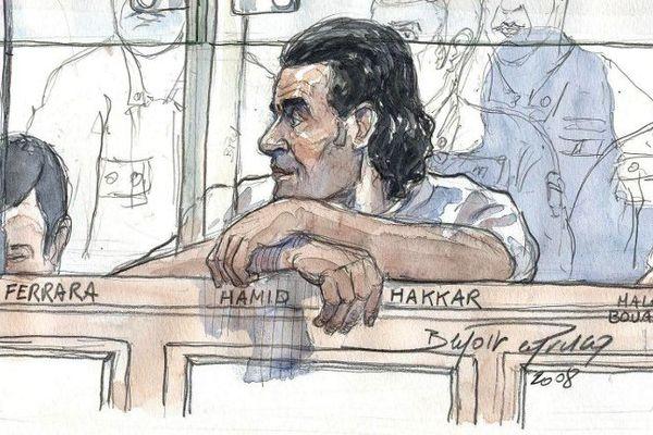 Hamid Hakkar, dessiné en 2010, lors du procès de l'évasion d'Antonio Ferrara.