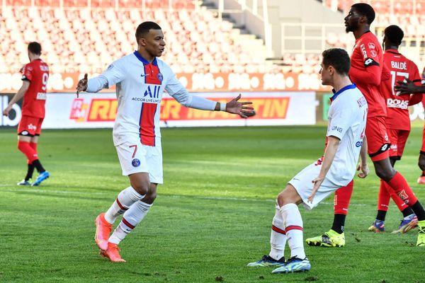 Kylian Mbappé après son but face aux Dijonnais lors du DFCO-PSG le samedi 27 février 2021