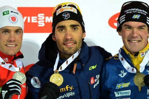 Nové Mesto (République tchèque) - le Catalan Martin Fourcade remporte le 20km aux mondiaux 2013 de biathlon - 14 février 2013.