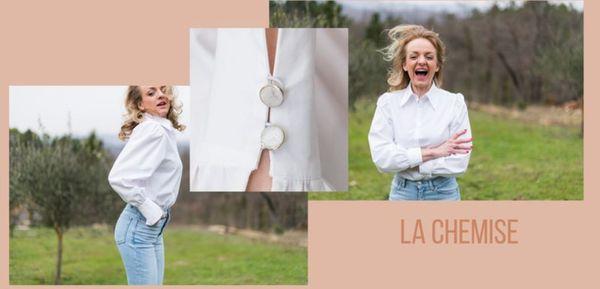 Sarah a créé une chemise blanche classique, une blouse en tencel, issu d'un rouleau trouvé dans un stock dormant et teinté à Lyon