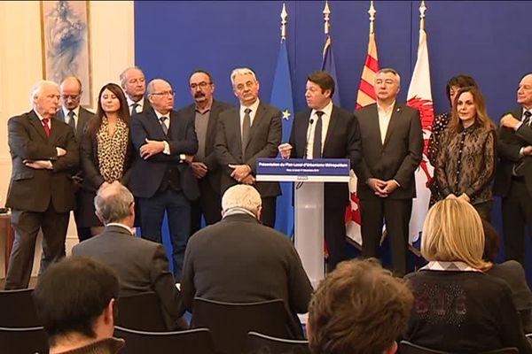 Conférence de présentation du premier PLU métropolitain, à Nice, le 17 décembre 2018, avec Christian Estrosi.