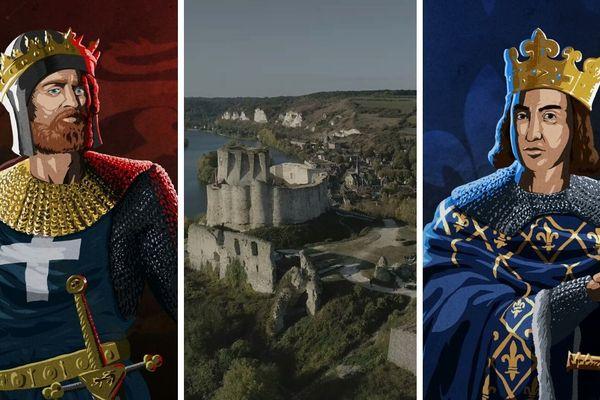 De gauche à droite : Richard Coeur de lion, roi d'Angleterre, suivi du Château-Gaillard et de Philippe Auguste, roi de France
