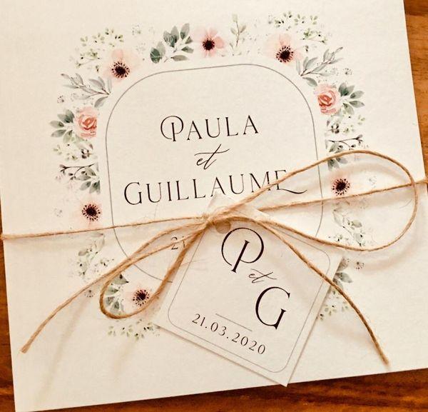 Le faire-part de Paula et Guillaume. Ils n'ont pas pu se marier à la date prévue, à cause du confinement et des risques liée à la pandémie de coronavirus.