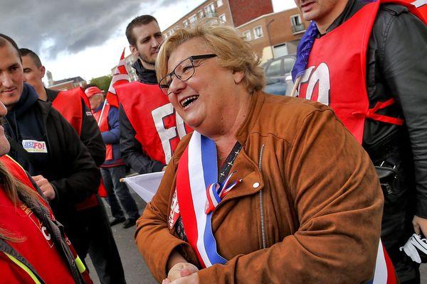 Annick Mattighello en 2017, lors d'une manifestation contre la loi travail.