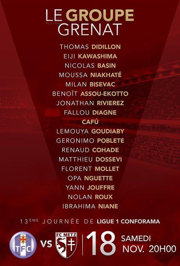 Toulouse FC vs FC Metz : le groupe messin