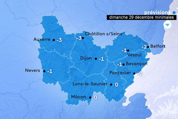 Les températures minimales prévues par Météo-France en Bourgogne-Franche-Comté dimanche 29 décembre 2019