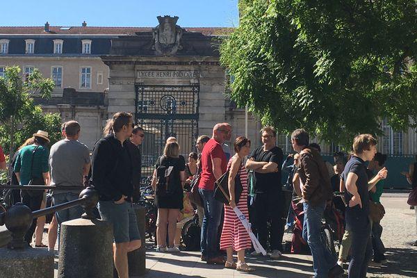 Rassemblement d'enseignants contre le projet de réforme du baccalauréat du ministre Jean-Michel Blanquer, Place Dombasle à Nancy, lundi 17 juin 2019.