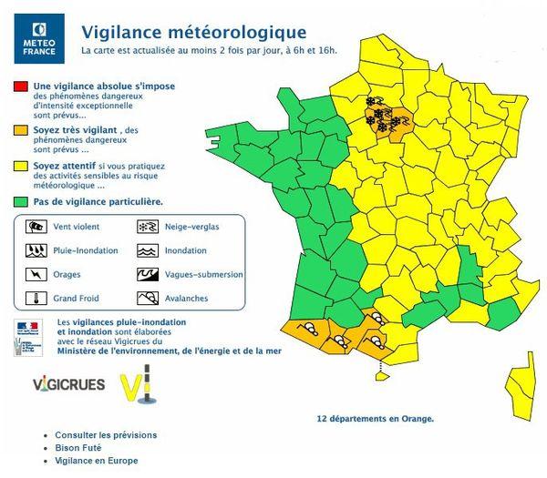 La carte de vigilance établie ce dimanche par Météo France.