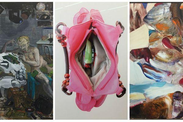 De gauche à droite : Mi Kafchin, Alchemia 2013 Huile sur toile ; Pusha Petrov, Marsupium 2010, Impression numérique ; Adrian Ghenie, Untitled (Darwin), Huile sur toile. Crédit photo : YAP Studio