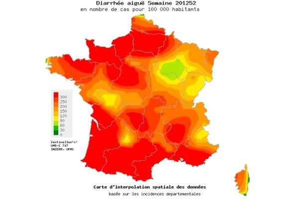 Le seuil épidémique de gastro-entérite a été atteint durant la dernière semaine de l'année. La Bourgogne est concernée elle aussi, mais n'est pas dans le maximum des 300 cas pour 100 000 habitants.