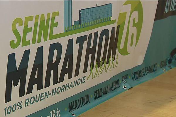 Le logo de Seine Marathon 76 lors de sa présentation à la presse.