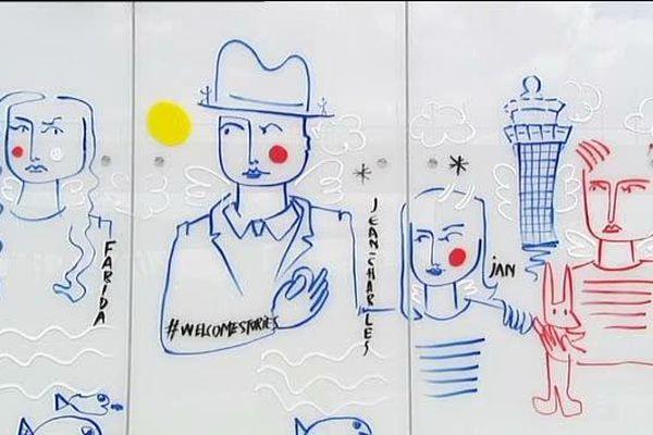 Jolie ébauche de fresque de Jean-Charles de Castelbajac à Orly