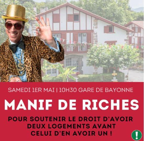Affiche de l'association Bizi qui appelle à manifester le 1er mai à Bayonne sur le thème de la spéculation immobilière dans le pays qui pose un vrai problème de logement notamment pour les jeunes.