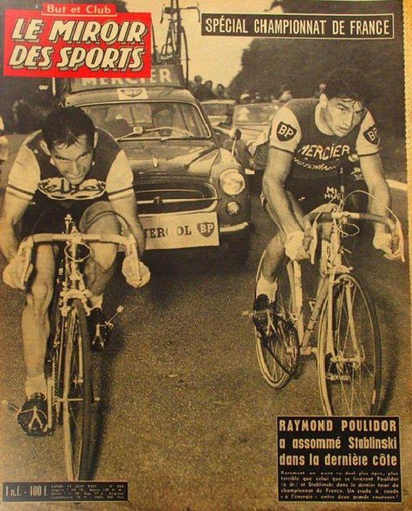 La Une du Miroir des Sports après la victoire de Raymond Poulidor lors du championnat de France 1961.