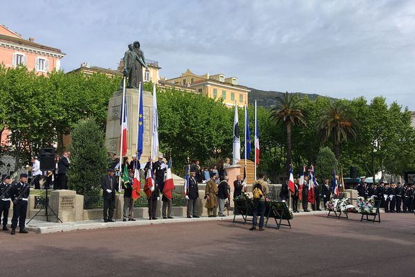 Cérémonie de commémoration de l'armistice du 8 mai 45, ce matin sur la place Saint Nicolas, à Bastia