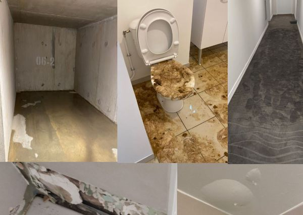 Refoulement dans des sanitaires, inondations dans des salles de bains, dans le parking, moquettes trempées, fuites d'eau dans une gaine technique, les dégâts constatés sont nombreux dans cette résidence neuve à Amiens.