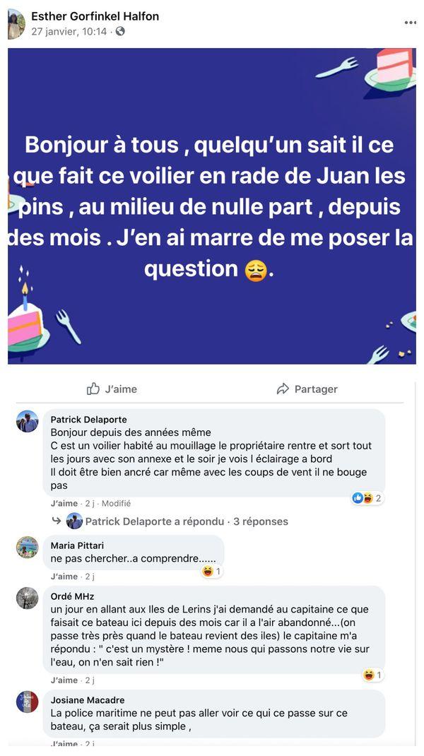 Dans un groupe Facebook, les habitants de Juan-les-Pins se questionnent sur ce navire au large des côtes.