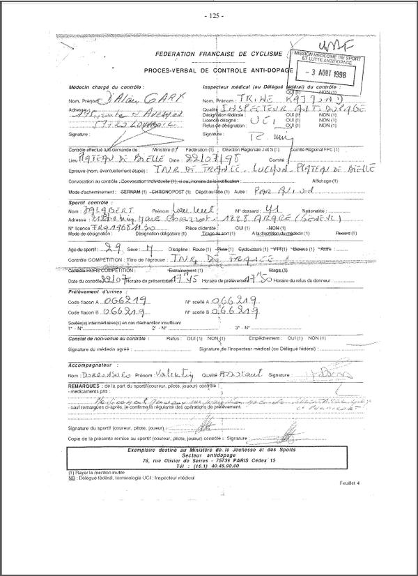 Le procès verbal du contrôle antidopage de Laurent Jalabert, qui se révélera positif à l'EPO, sur l'étape Luchon - Plateau de Beille, le 22 juillet 1998.