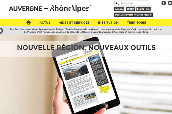 Capture d'écran de la page d'accueil du site www.auvergnerhonealpes.eu
