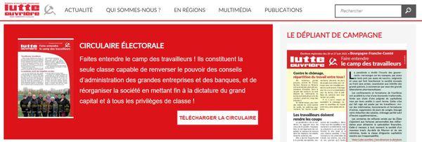 Capture d'écran du site internet de Lutte ouvrière, le 17 mai 2021