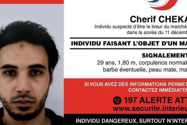 Un appel à témoins est lancé pour retrouver Cherif Chekatt, suspecté d'être le tireur du marché de Noël de Strasbourg