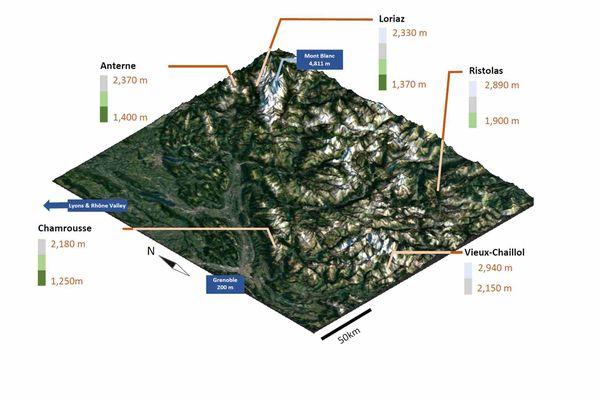 La première carte de répartition en altitude des micro-algues des neiges établie par les chercheurs grenoblois.