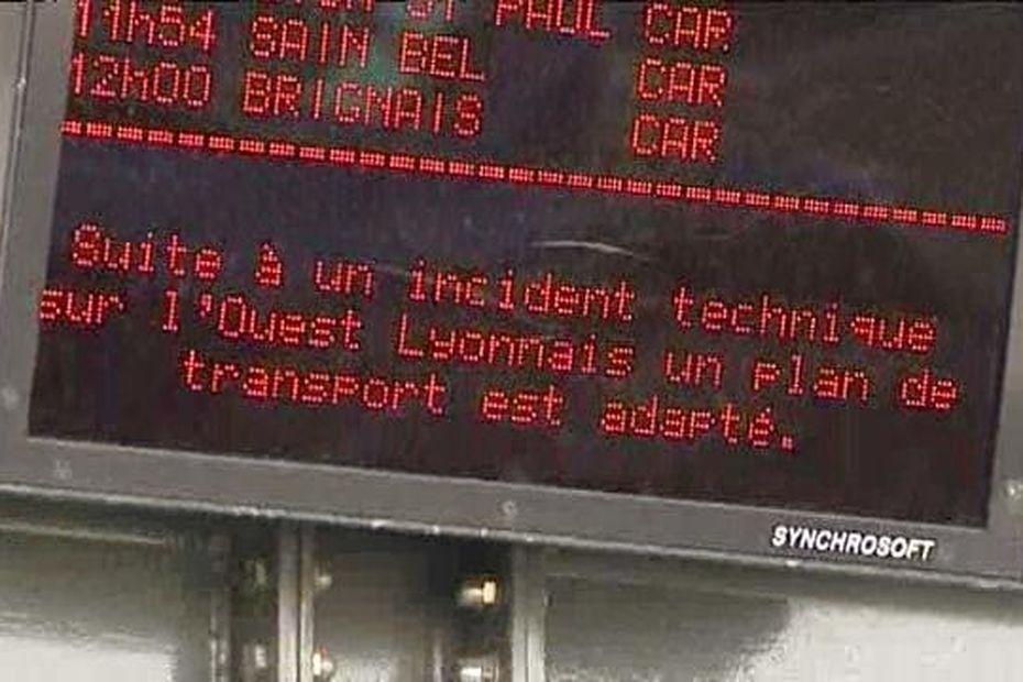 [Suite à un incident technique sur l'Ouest Lyonnais un plan de transport est adapté]