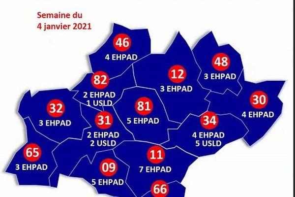 48 Ehpad et 10 USLD d'Occitanie pour démarrer la première phase de vaccination contre la Covid-19 à compter du lundi 4 janvier 2021. Leur répartition par département.