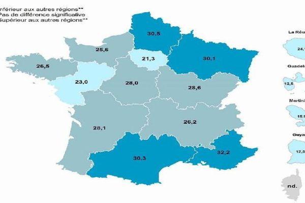Pourcentage des adultes de 18 à 75 ans consommant quotidiennement du tabac en 2017 (France métropolitaine) et en 2014 (départements et régions d'outre-mer)