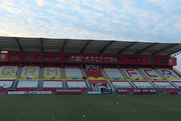 13 février 2021 : le stade Robert Diochon quelques minutes avant le début du match QRM-FCR