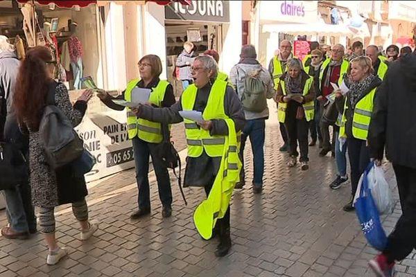Dolores, accompagnée par plusieurs gilets jaunes, distribue des tracts sur le marché de Sète pour son festival qui a lieu ce week-end à Frontignan - 15 février 2019