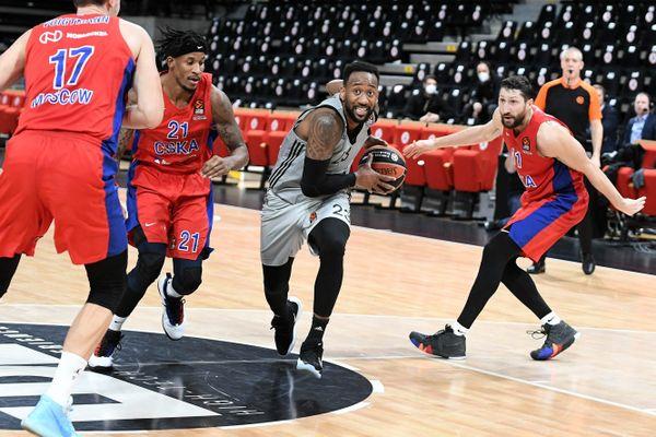 Villeurbanne, 22 décembre 2020. David Lighty, l'un des meilleurs joueurs de l'ASVEL, face au CSKA Moscou, lors de la 16ème journée d'Euroligue de basket.