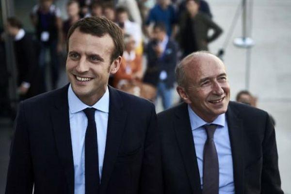 L'ex-ministre Emmanuel Macron et le sénateur-maire Gérard Collomb le 24 septembre 2016 à Lyon.