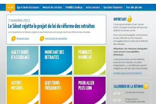 """L'Assurance retraite, qui gére la retraite de base des salariés du secteur privé, a lancé un site spécial """"réforme des retraites""""."""