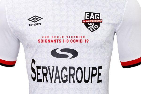 Le maillot de la solidarité de l'En Avant Guingamp pour les soignants
