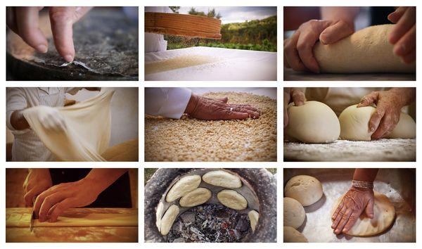 Le blé dur constitue un des ingrédients de base du régime crétois. Ici un pêle-mêle des gestes de la transformation du blé en Tunisie, en Crète, au Portugal, en Sicile issues de films réalisés par Christine Coulange pour les besoins de l'exposition.