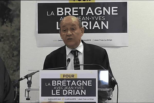 Le discours de Jean-Yves Le Drian, au siège du PS à l'issue du premier tour des Régionales 2015