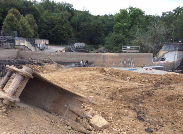 Les travaux du barrage du Gué Giraud, en septembre 2017.